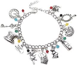 Athena Brands Alice in Wonderland Fashion Novelty Charm Bracelet Movie Cartoon Series with Gift Box