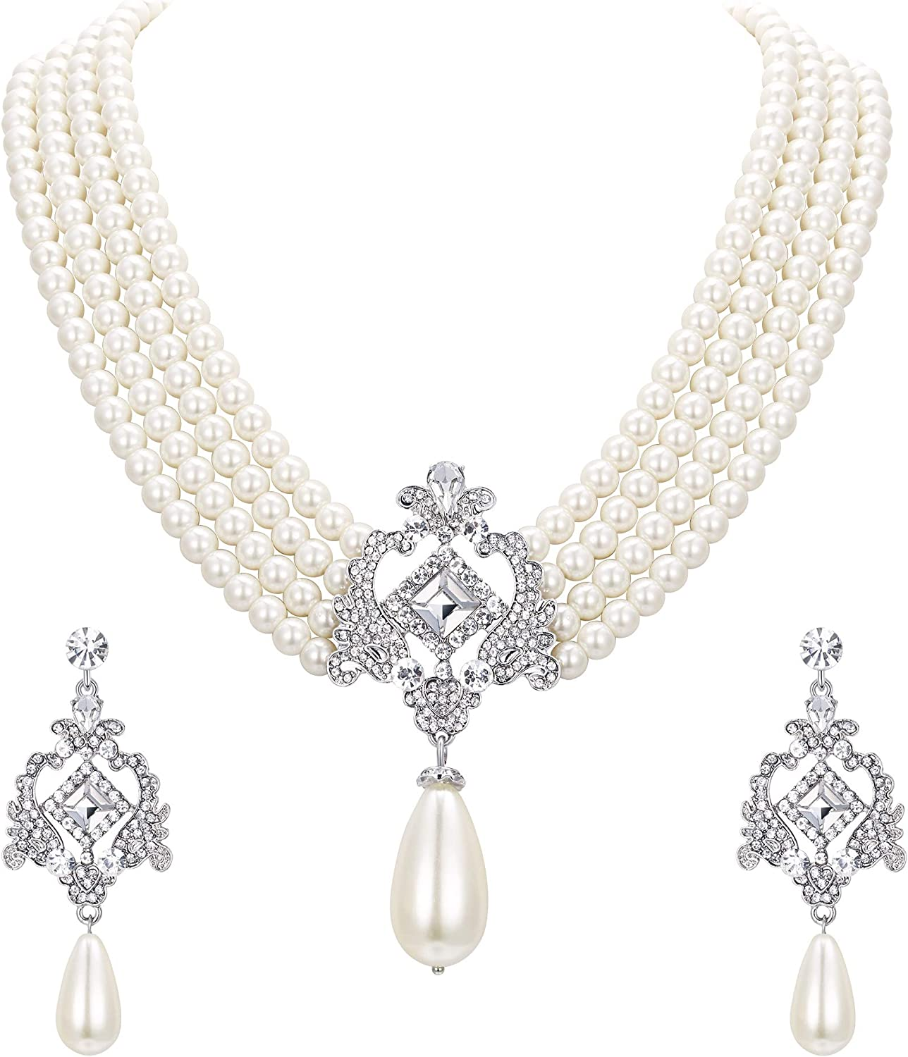 EVER FAITH Crystal 4 Layers Simulated Pearl Elegant Vintage Inspired Chandelier Necklace Earrings Set