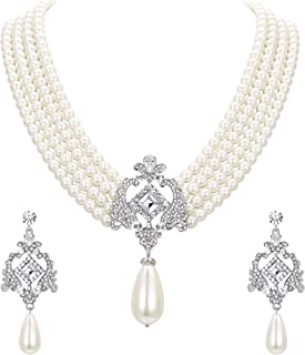 Crystal 4 Layers Simulated Pearl Elegant Vintage Inspired Chandelier Necklace Earrings Set