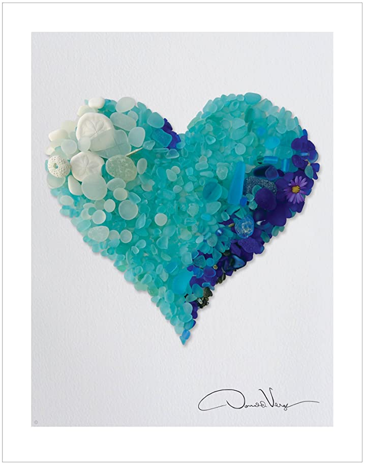 合金忘れっぽいLove?–?Rare Blues & Aqua Sea Glassハートポスター印刷。11?x 14?Great forフレーミング。最高品質のギフトハートコレクション。一意の誕生日、クリスマス&バレンタインギフトレディース、メンズ&すべての年齢の子供