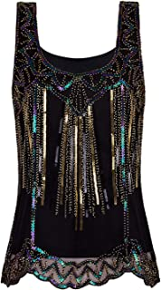 VIJIV Womens 1920s Vintage Beaded Tops Art Deco Sleeveless Embellished Sparkly Sequin Vest Tank Top