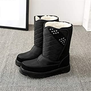 Jancerkmou Bottes de neige hautes pour homme - En coton épais et chaud - Antidérapantes