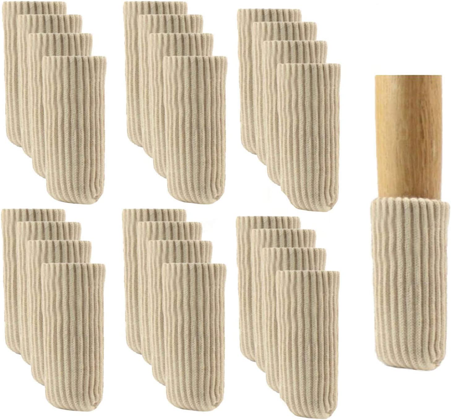 24 PCS Furniture Leg Socks Knitted Furniture Socks - Chair Leg Floor Protectors for Avoid Scratches, Furniture Pads Set for Moving Easily and Reduce Noise, Beige