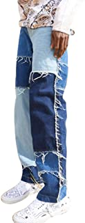 Men's Color Block Patched Skate Jeans Loose Casual Denim Trouser Straight Leg Frayed Patch Work Pants