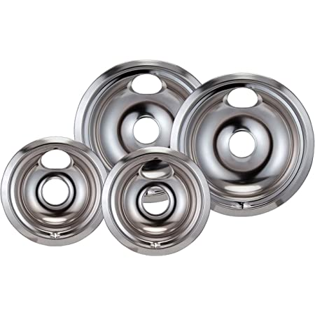RO6G (4) Replacement Chrome Stove Drip Pans Electric Burner Covers Top for Ge Hotpoint