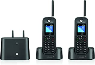 $80 » Motorola O212 DECT 6.0 Long Range Cordless Phone, Water & Dust Resistant, IP67 Certified, Black, 2 Handsets (Renewed)