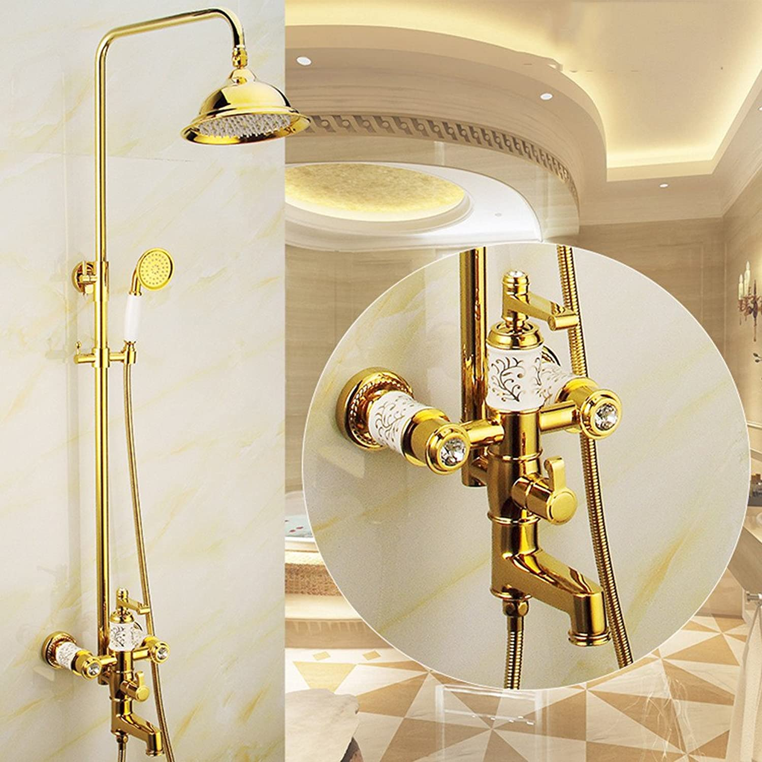 Copper Antique Shower Set Continental golden Shower with Lift Faucet Set