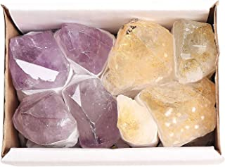 JIC Gem 8-10 Pcs Mixed Amethyst & Citrine Quartz Crystal Point in Box for Collection, Jewelry Making & Wire Wrapping(Light...