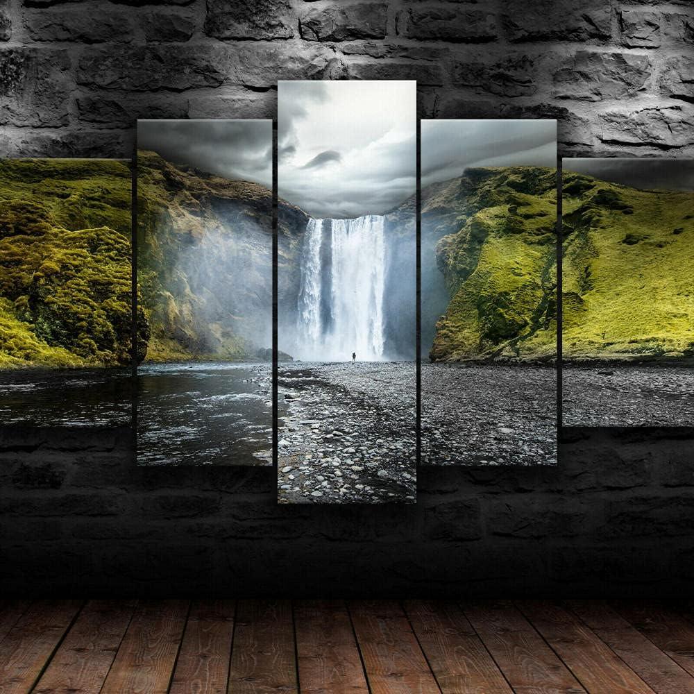 SFYAN Framed Skogafoss Waterfall Iceland free shipping Canvas 5 Print Wall famous Art