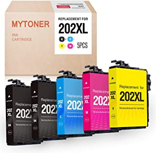 MYTONER Remanufactured Ink Cartridge Replacement for Epson 202XL 202 High Yield Ink for Epson Workforce WF-2860 WF2860 Home XP-5100 XP5100 All-in-one Printer (Black, Cyan, Magenta, Yellow, 5-Pack)