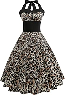 7a28b80212 Uscharm Strap Dress Fashion Women Vintage Flower Print Bodycon Sleeveless  Casual Cocktail Prom Dress