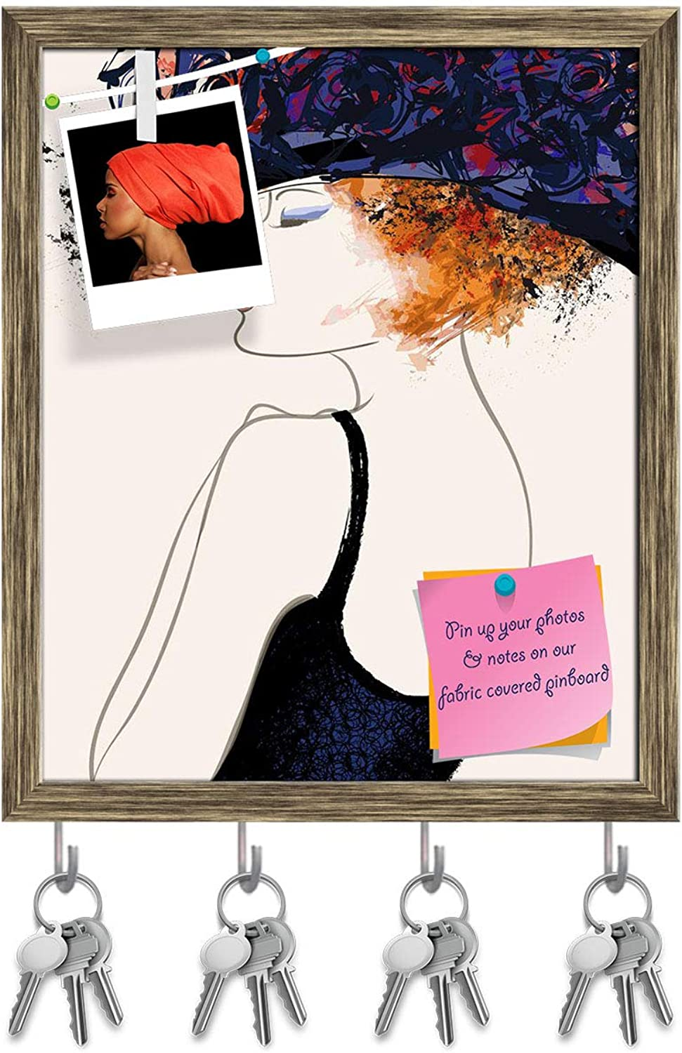 Artzfolio Woman Fashion Model with Hat Key Holder Hooks   Notice Pin Board   Antique golden Frame 16 X 19.5Inch