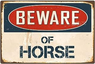 Beware of Horse Lámina de Metal Retro para Bodega de Bodega casera Tienda de decoración del hogar