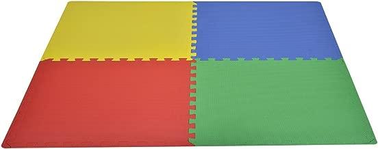 HomCom Tappeto Gioco Bimbi Set 8 Pezzi, Materiale Isolante, Resistente all'Umidità, Colorato, 60 x 60 cm