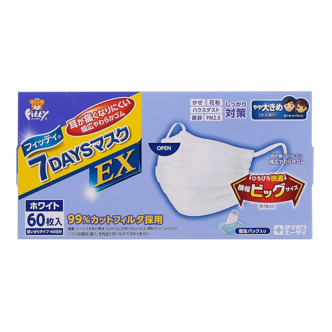 幾何学もつれ演じるフィッティ 7DAYSマスク EX 60枚入 W やや大きめサイズ