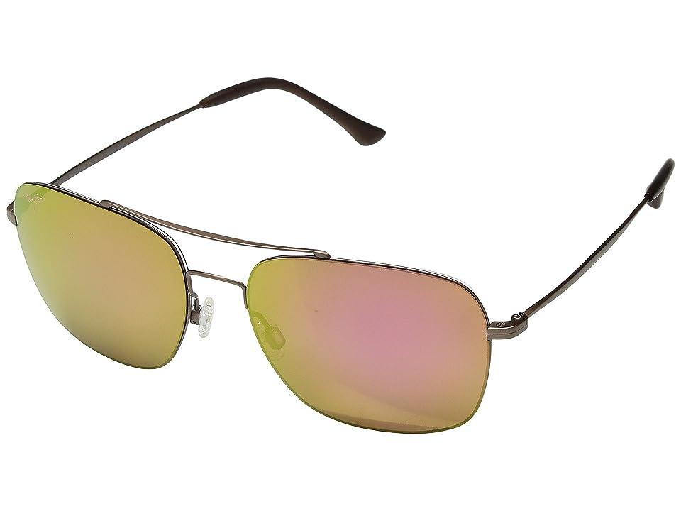 Maui Jim Lava Tube (Satin Sepia/Maui Sunrise) Athletic Performance Sport Sunglasses