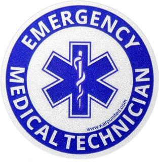 4-Pack 4 inch EMT Reflective Round Bumper Sticker for Emergency Medical Technician on Helmet, Equipment, Vehicle Waterproo...