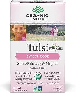 Organic India Tulsi Caffeine Free Tea, Sweet Rose, 18 Count