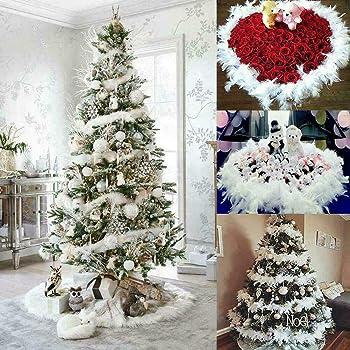 5//10PCS 2M Xmas Tree White Feather Strip Ribbon Party Garland Wedding Gift Decor
