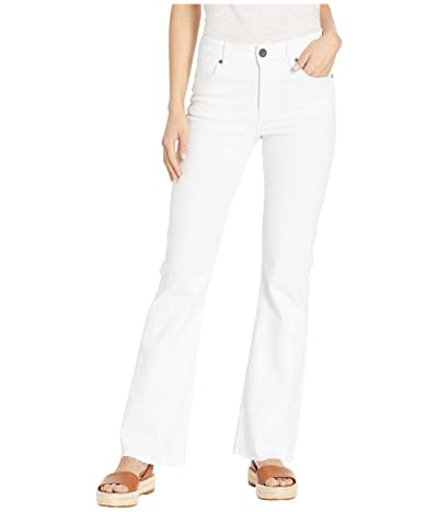 KUT from the Kloth Stella Flare Jeans w/ Raw Hem Welt in Optic White (Optic White) Women