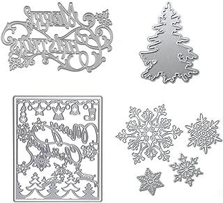 Eswala Dies Cuts Christamas Tree Snowflake for Card Making DIY Scrapbooking Photo Album Tree Xmas Words Metal Stencils Decorative Embossing DIY Paper Cards Gift (Set 10) (CDS11)