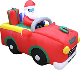 6 Foot Long Christmas Inflatable Santa Claus Riding Red Car with Gift Boxes LED Lights Decor Outdoor Indoor Holiday Decorations, Blow up Lighted Yard Decor, Lawn Inflatables Home Family Outside