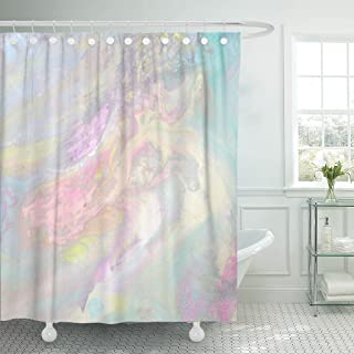 Emvency Shower Curtain Iridescent Color Transitions Pale Blue Green Yellow Pink and Purple Streaks Light Petrol Stain Waterproof Polyester Fabric 72 x 72 inches Set with Hooks