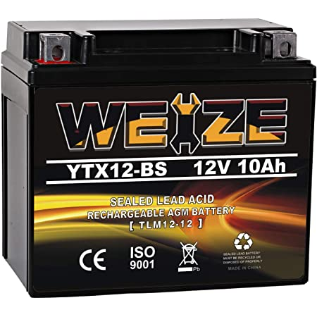 Weize YTX12-BS Motorcycle Battery High Performance - Maintenance Free - Sealed YTX12 BS AGM Rechargeable ATV Batteries compatible with Honda Kawasaki Suzuki