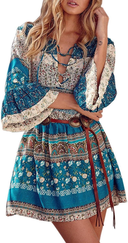Akery Women's Bohemian V Neck Vintage Printed Loose Casual Tunic Dress