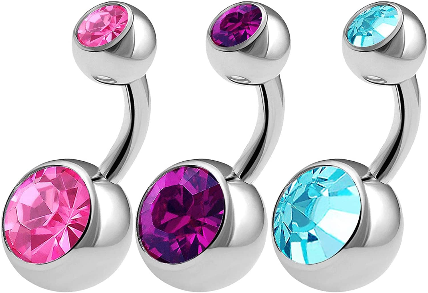BanaVega 3PCS 316L Surgical Steel Short Belly Button Rings Studs 14 Gauge 1/4 6mm Rose Amethyst Shallow Navel Jewelry Choose Colors