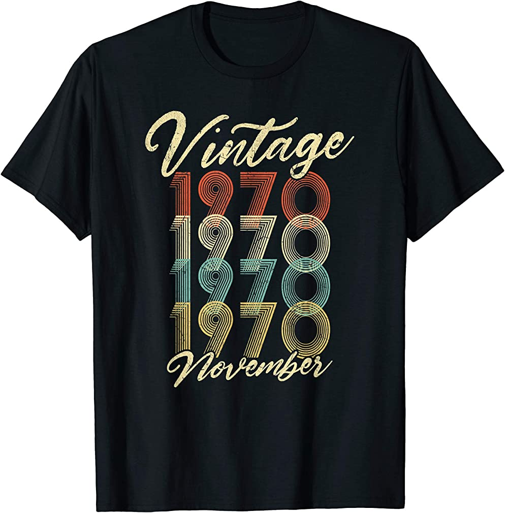 50th Birthday Gift Vintage November 1970 Fifty Years Old T-shirt