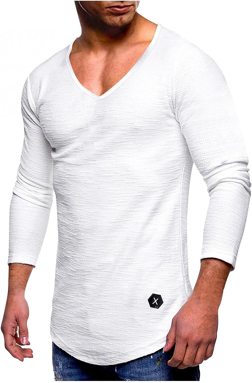 Men's Gym Workout Athletic T Shirt - Muscle Bodybuilding Long Sleeve Slim Fit Slub Cotton Tee Shirt Tops