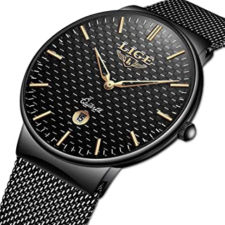 Watch for Men,LIGE Stainless Steel Waterproof Analog Quartz Watch Gents Fashion Casual Dress Wrist Watch