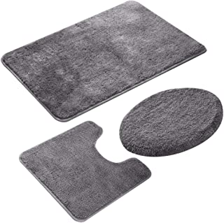 MIFXIN Bathroom Rug Set 3 Pieces Non-Slip Shaggy Soft Rectangular Area Rug Floor Mat, U-Shaped Toilet Mat, Elongated Toilet Lid Cover (Grey)