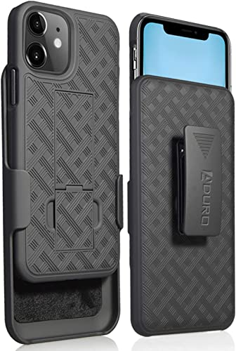 Aduro Combo Case & Holster for iPhone 11, Slim Shell & Swivel Belt Clip Holster, with Built-in Kickstand for Apple iP...