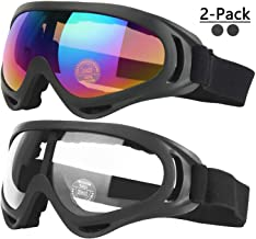 COOLOO Ski Goggles, Pack of 2, Snowboard Goggles for Kids, Boys & Girls, Youth, Men & Women, with Helmet Protection, Wind Resistance, Anti-Glare Lenses