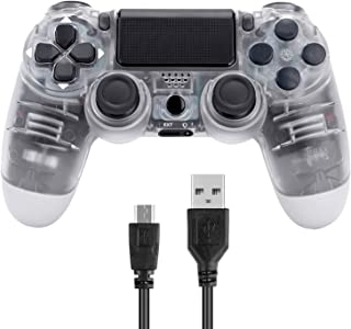 Donop Wireless Controller for PS4, Game Remote Joystick Compatible with Playstation 4 Slim Pro Console(ClearWhite)