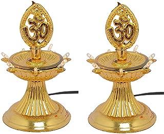 Varshine 1 Layer Electric Gold LED Bulb Lights Diya| Deep | Deepak for Pooja | Puja|Mandir | Diwali Festival Decoration || Pack of 2