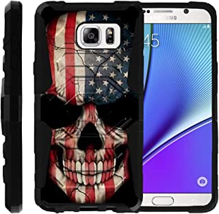 TurtleArmor | Compatible with Samsung Galaxy Note 5 Case | N920 [Octo Guard] Dual Layer Case Holster Belt Clip Sturdy Kickstand Cover - US Flag Skull