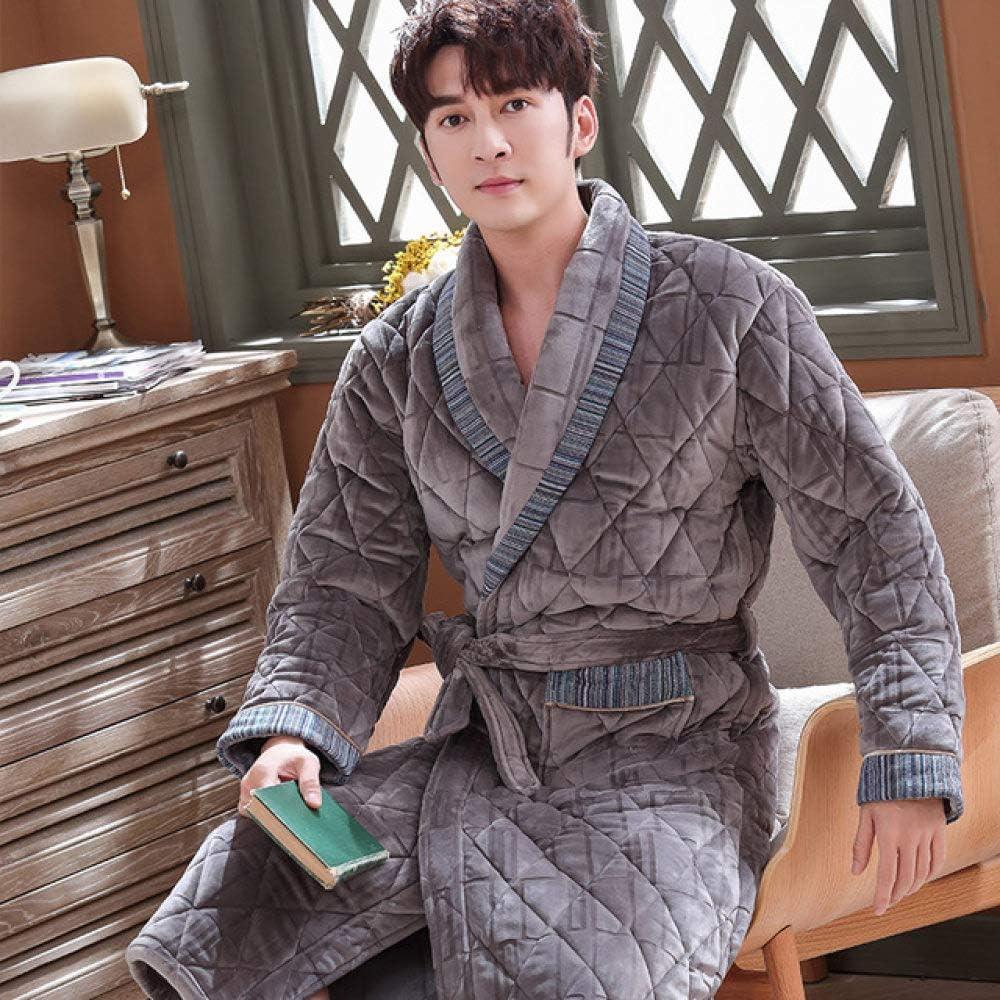 SDCVRE Bathrobe,Winter Men Three Layers Quilted Bathrobe Thick Flannel Robe Sleepwear Plus Size XXXL Kimono Stitching Bathrobes Male Warm Lounge,SJ1648,XXL