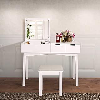 JIASTING Vanity Beauty Station, Dresing Table Vanity Set with Flip Top Mirror,1 Large Organization 2 Drawers Makeup Dresser, Writing Desk