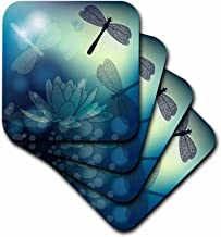 3dRose Translucent Shimmering Blue Dragonflies and - Soft Coasters, Set of 8 (CST_210922_2)