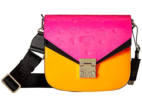 MCM Patricia Monogrammed Patent Shoulder Small
