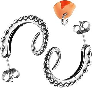 HZMAN 316L Stainless Steel Stud Earrings Unisex Tunnel Punk Style Octopus Mens Womens Piercing Ear Stud