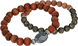 Natural Wood Duo Bracelet Set