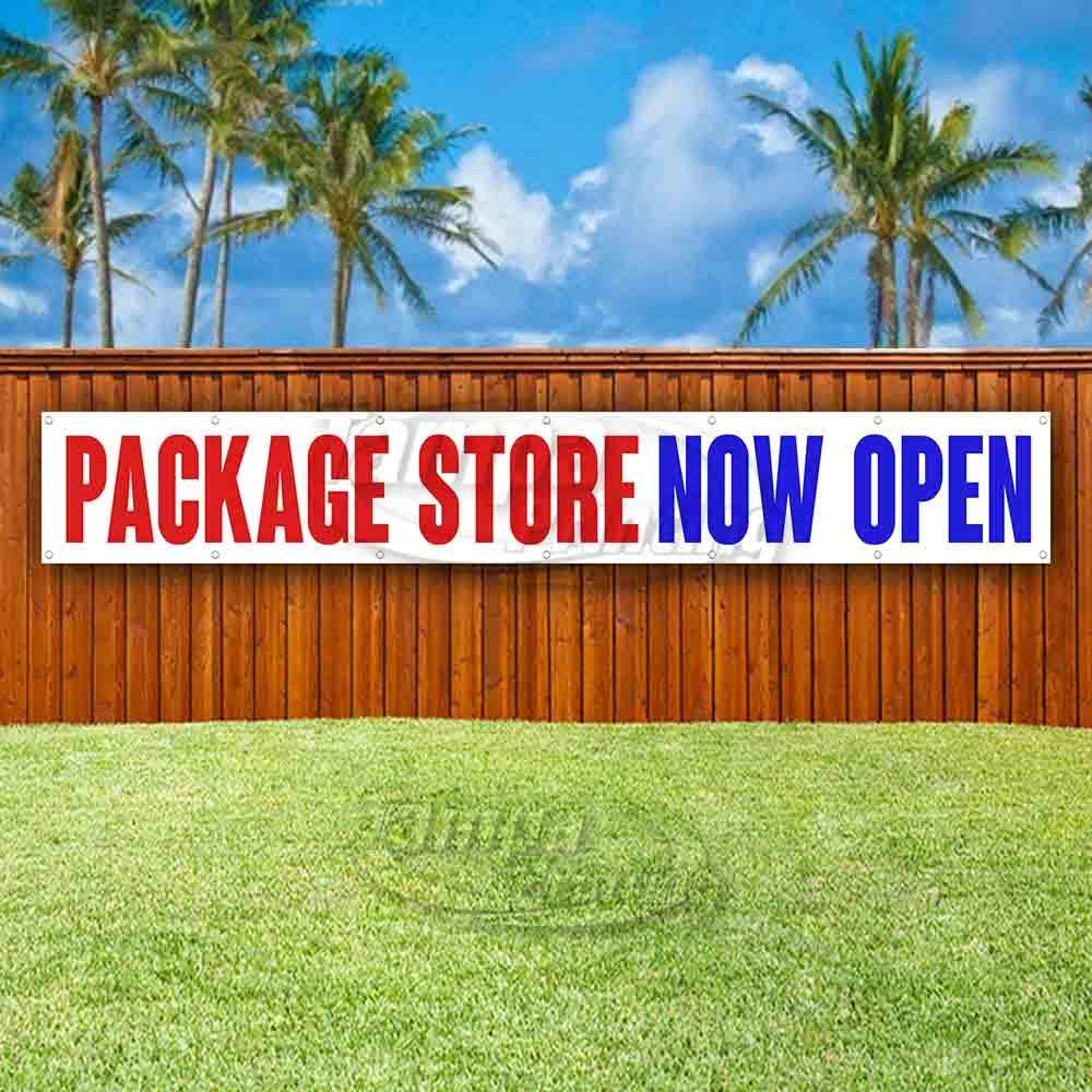Package Store Now Open Extra Large 13 oz Banner Heavy-Duty Vinyl Single-Sided with Metal Grommets