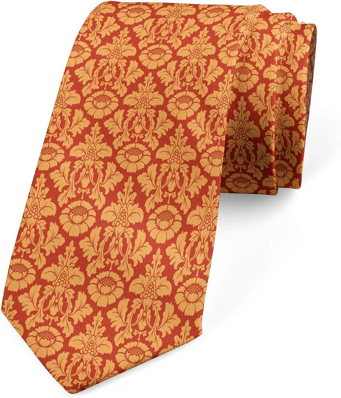Ambesonne Men's Tie, Royal Victorian Damask, Necktie, 3.7