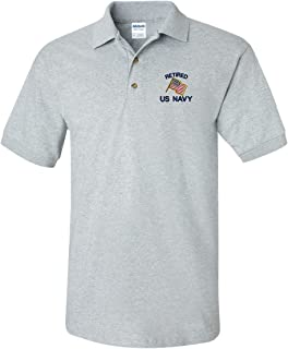 Retired US Navy Custom Personalized Embroidery Embroidered Golf Polo Shirt