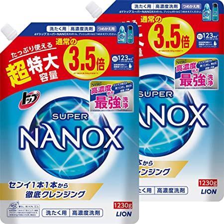 【まとめ買い 大容量】トップ スーパーナノックス 蛍光剤・シリコーン無添加 高濃度 洗濯洗剤 液体 詰め替え 超特大1230g×2個セット