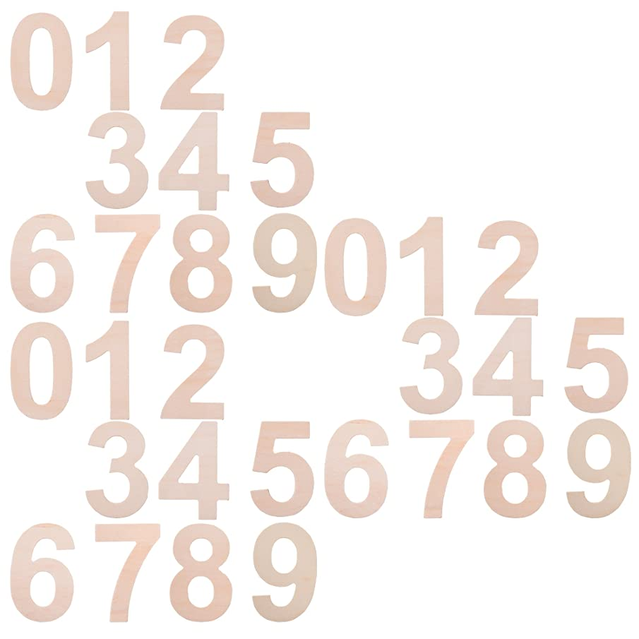 BCP Set of 30pcs Wood Craft Plywood Wooden Number 0 to 9, 2-7/8inches.